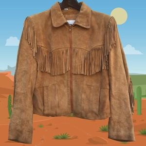 Wilson Suede & Leather Tan Fringe Leather Jacket